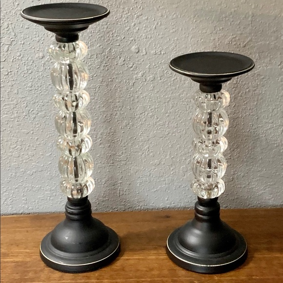 Vintage Other - Crystal/Black Metal Pair Of Candle Stick Holders